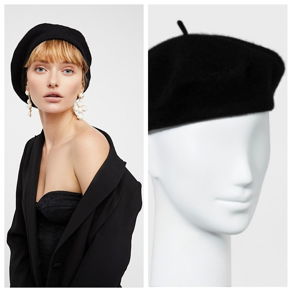 Black Beret: The left is from Free People and the right is from Target. The beret from Free People is featured on a model who is wearing earrings, a jacket, and a bustier. The beret from Target is featured on a mannequin head.