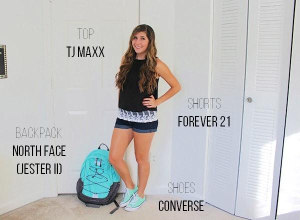 Black blouse denim shorts mint converse mint backpack