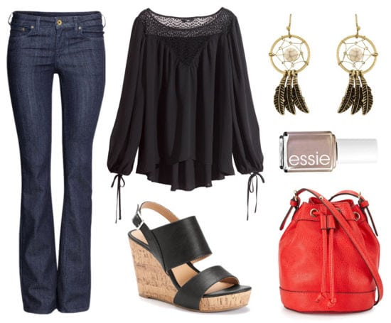 black peasant blouse, flare jeans, wedges