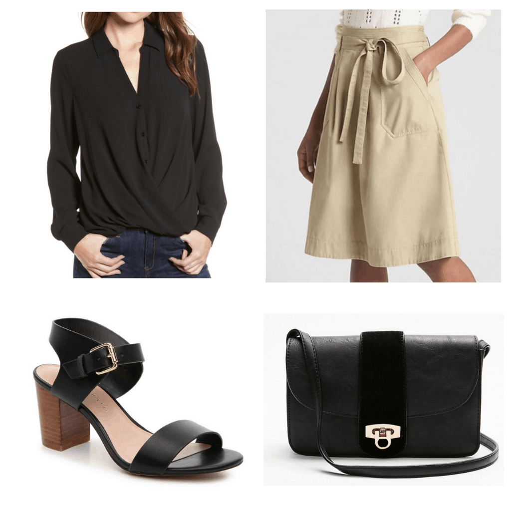 black button down blouse with belted khaki skirt, black block heels, and purse
