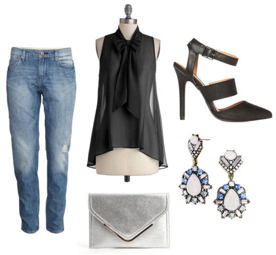 Black bow blouse boyfriend jeans