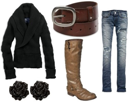 How to wear black and brown together - outfit with a black jacket and brown accessories