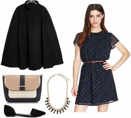 Black cape, plaid dress, flats