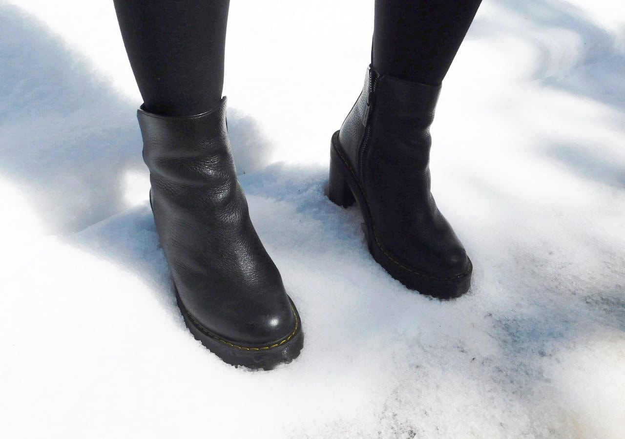 These black chunky-heeled rubber Doc Marten booties are perfect for snowy weather.