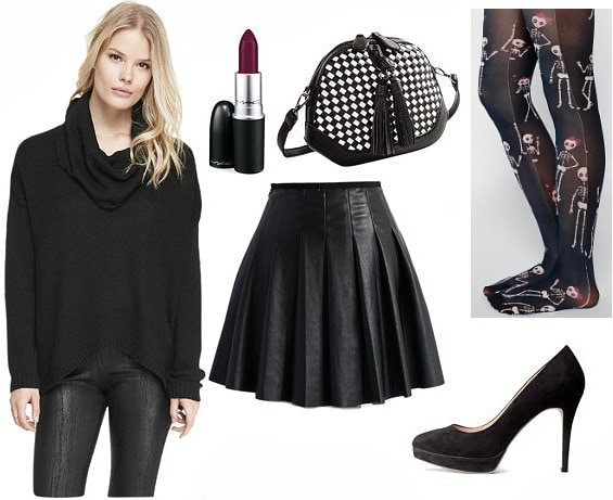 Black cowl neck sweater night out look