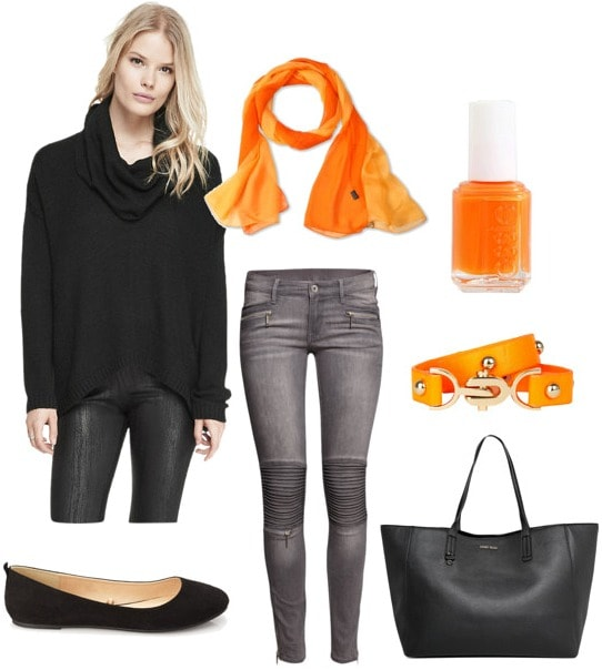 Black cowl neck sweater outfit for day