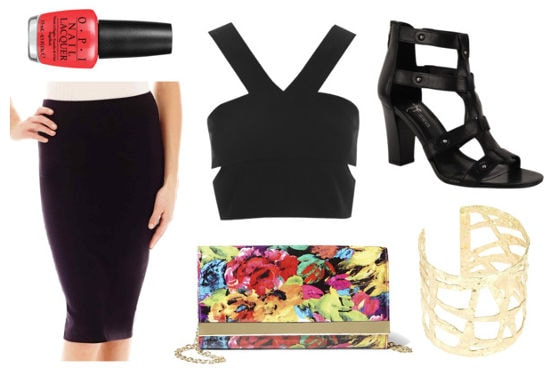 Black crop top black pencil skirt floral clutch