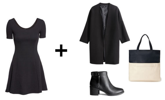 black dress, coat, ankle boots