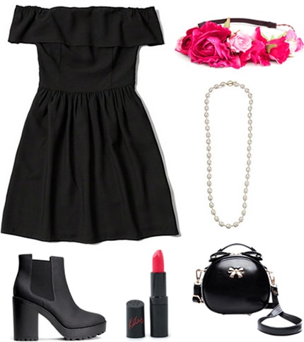 How to wear a black dress with black booties and a flower crown