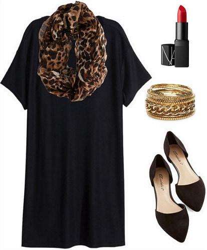 Black dress, leopard scarf, flats