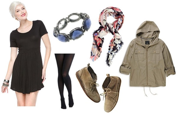 How to wear a little black dress with a scarf
