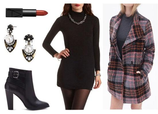 Black dress plaid coat booties