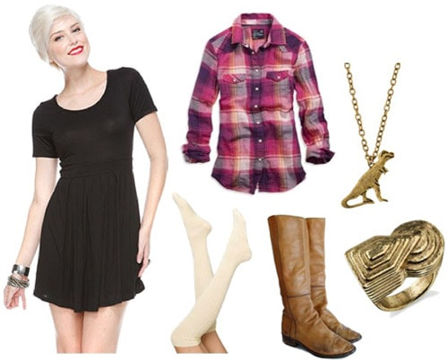 How to wear a little black dress with a plaid shirt