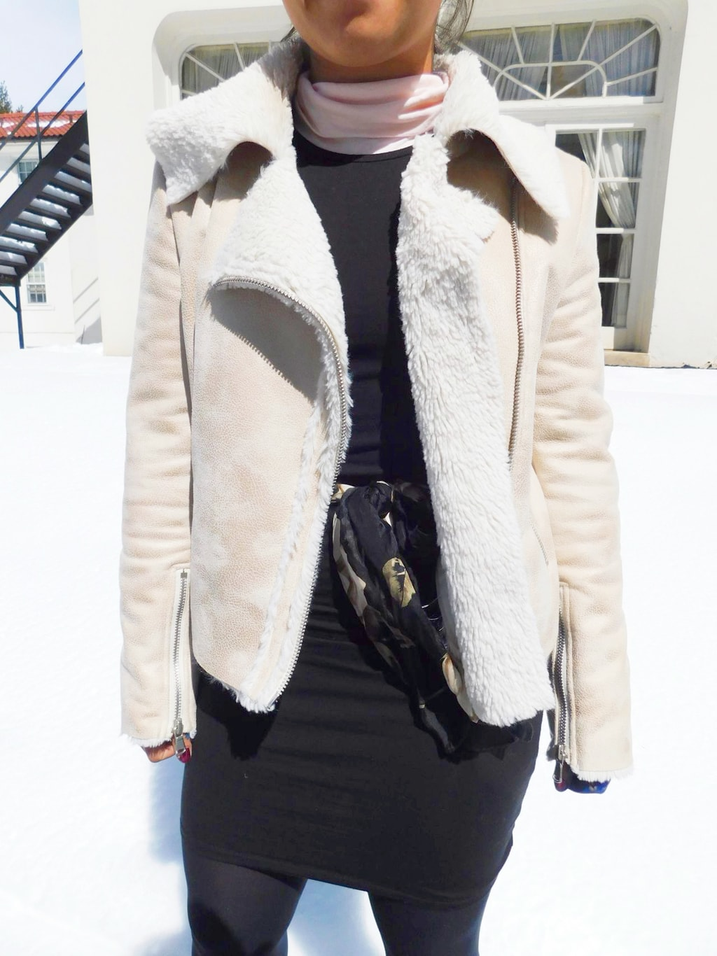 This Forever 21 shearling-lined cream motorcycle coat keeps Vanessa warm.