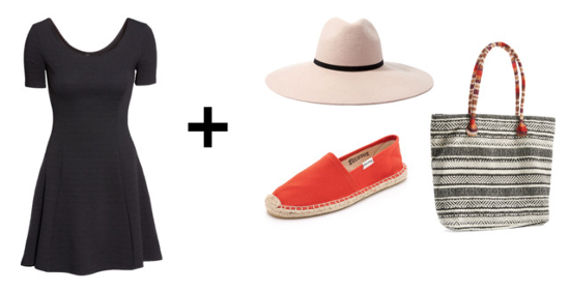 black dress, espadrille flats, tote, hat