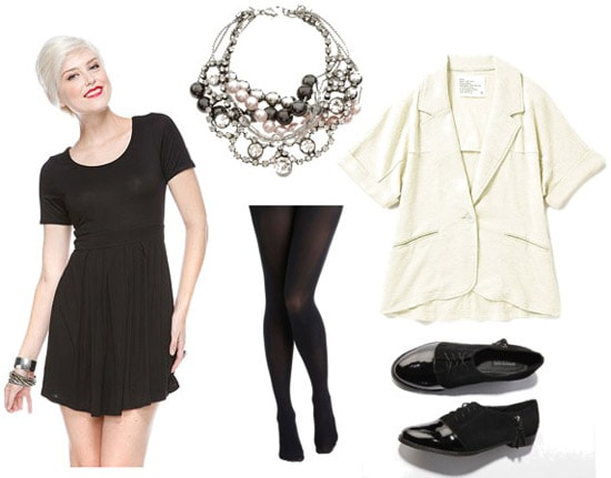 How to wear a black dress with a white coat