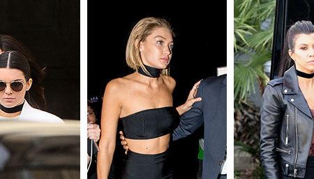 Black fabric chokers on Kendall Jenner, Gigi Hadid, and Kourtney Kardashian