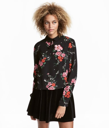 Black floral chiffon blouse from H&M.