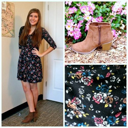 Black floral dress tan ankle boots