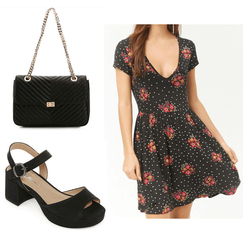 Black floral skater dress with black handbag and chunky black sandals