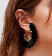 Photo of black fringe earrings.
