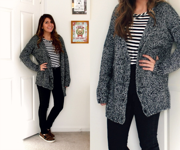 Black-Gray-Cardigan-Black-White-Striped-Shirt-High-Waisted-Jeans-Animal-Print-Slip-ons