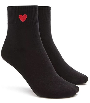 Black crew socks with red heart embroidered at ankle