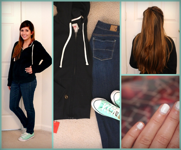 Black-Hoodie-White-Strings-Dark-Jeans-Mint-Converse-Half-Up-Half-Down-Hair-White-Nails-Ariana-Grande-One-Last-Time