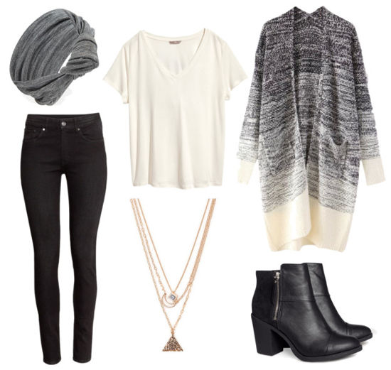 Black jeans and ombre duster cardigan