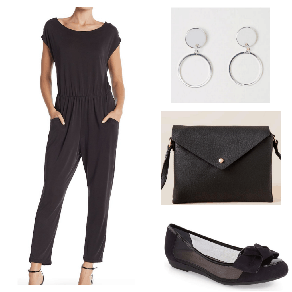 Black jumpsuit with silver hoop earrings, black bag, and black flats