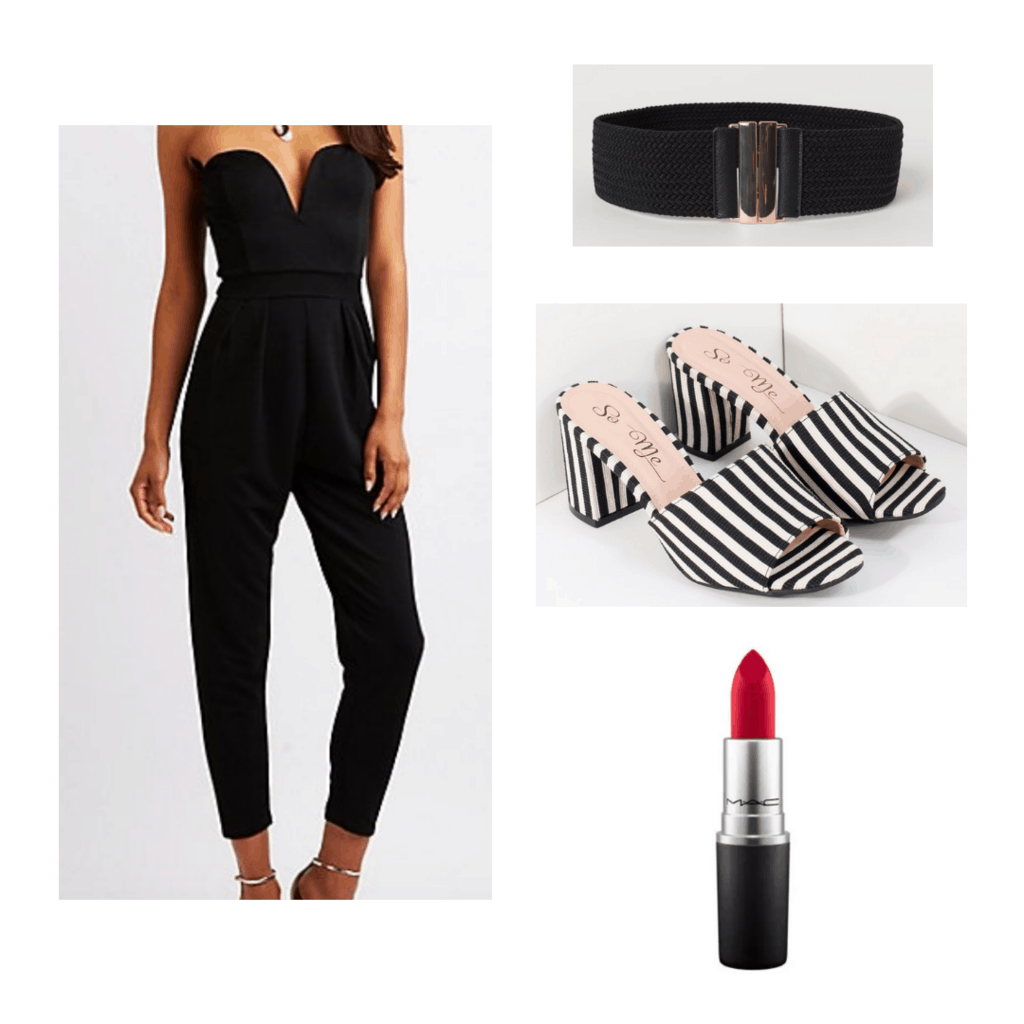 black strapless jumpsuit with black and white striped mules, black belt with gold buckle, and red lipstick