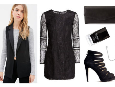 Black lace dress black vest