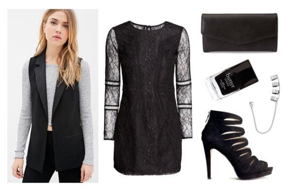 Black lace dress black vest