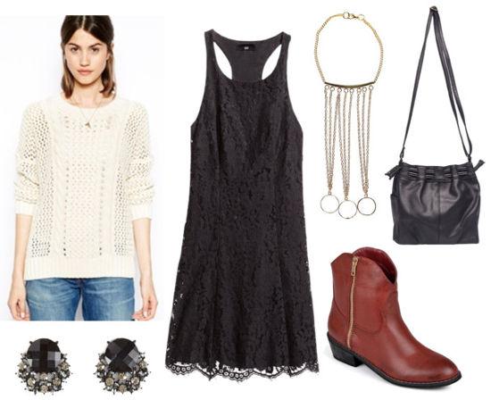 Black lace dress white sweater