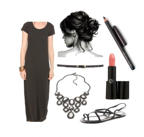 How to wear a black maxi dress - dressy look