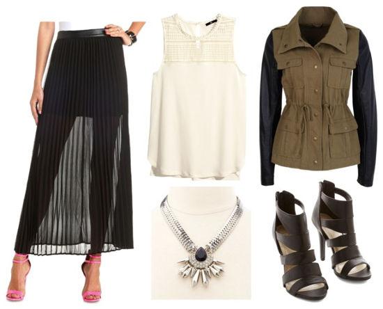 Black maxi skirt lace tank utility jacket