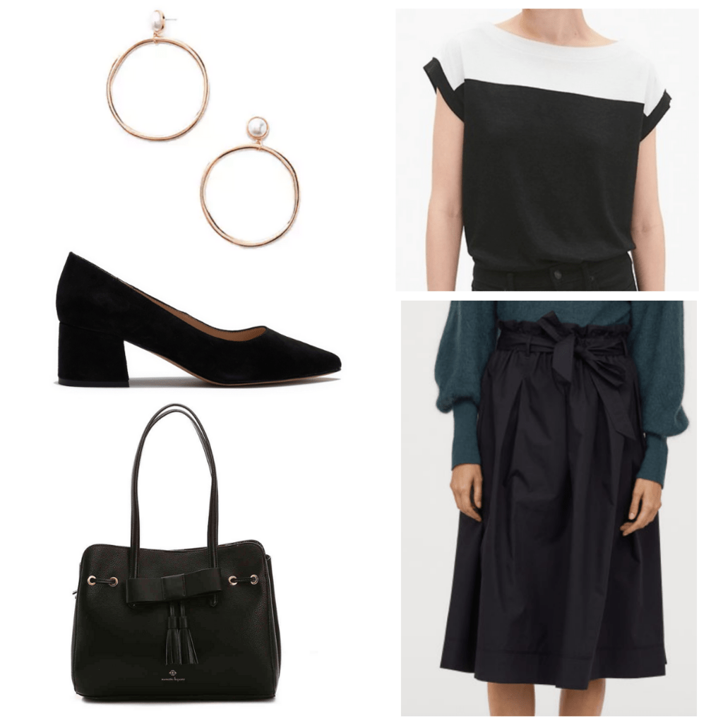 Black and white boatneck blouse with black belted skirt, black block heel, pearl hoop earrings, and black handbag