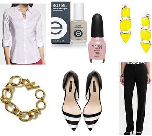 How to wear black pants and a white shirt - modern outfit