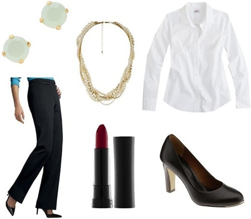 How to wear black pants and a white shirt - business casual outfit