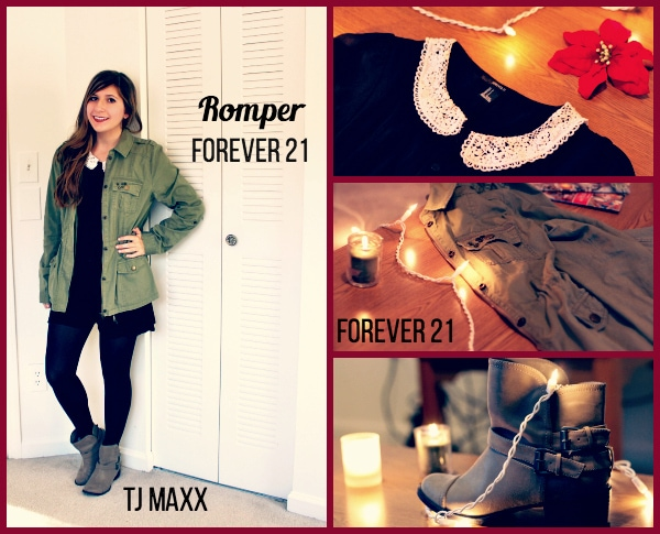 Black-Peter-Pan-Collar-Romper-Green-Utility-Jacket-Tights-Taupe-Booties-Summer-to-Winter-Look