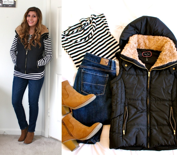 Black-Puffy-Vest-Fur-Collar-Hood-Striped-Shirt-Blue-Jeans-Camel-Booties-OOTD