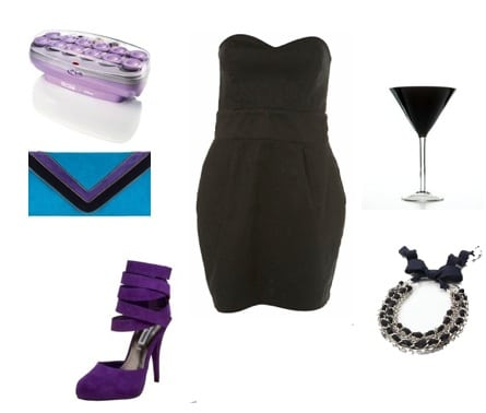 black and purple outfit for new years