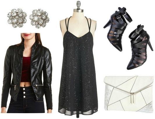 Black sequin dress moto jacket black heels look