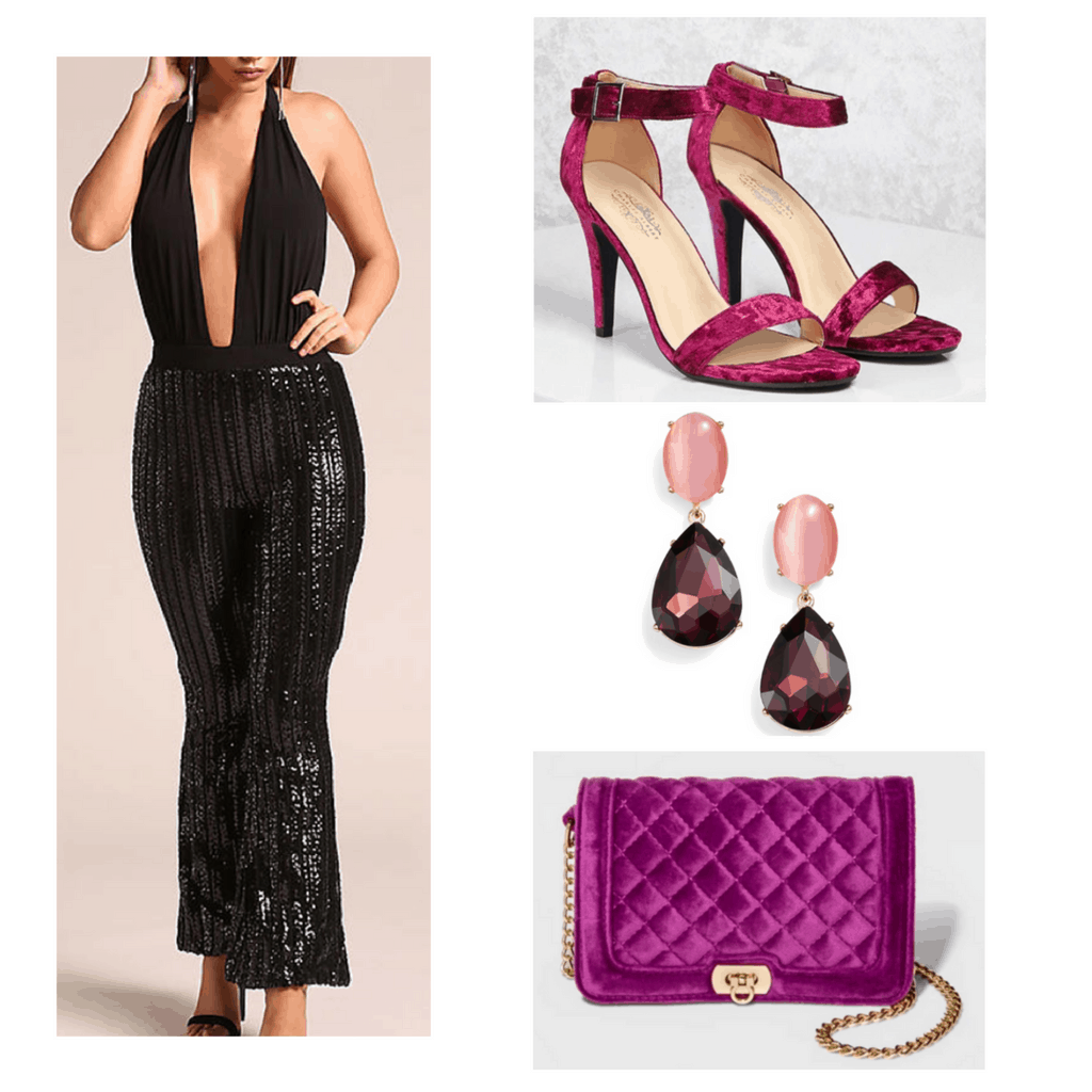 Black sequins jumpsuit with pink crushed velvet heels and bag, and pink gem earrings