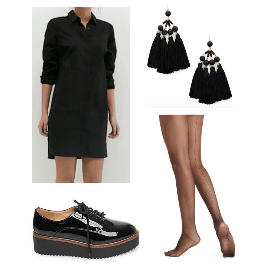 Black shirt dress with black chandelier earrings, seamed sheer blak tights, and black platform shoes