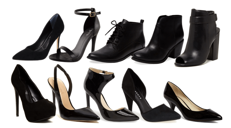 black pumps and booties