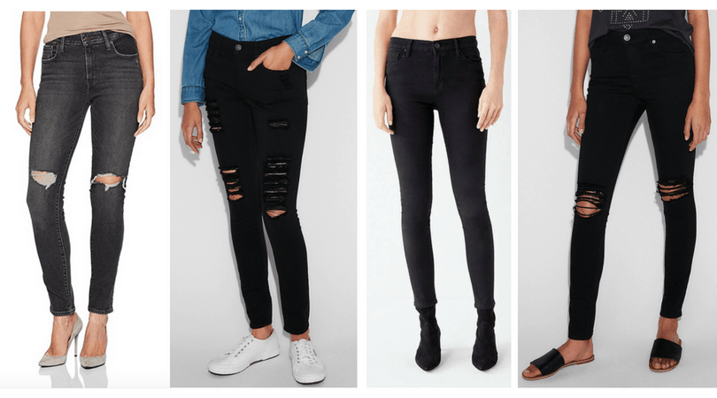 87266cdc086 Black skinny jeans for edgy style  Acid washed ripped knee skinny jeans