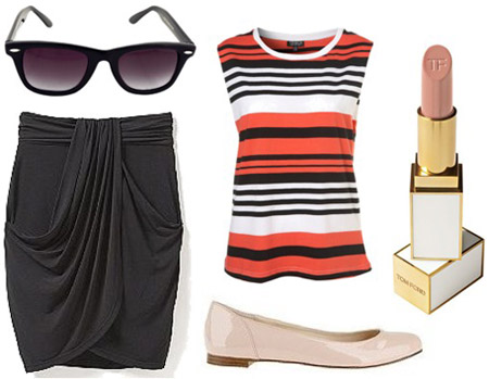 How to wear a black skirt with a striped top and flats