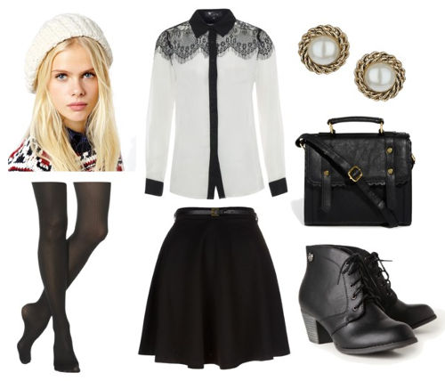 Black skirt white lace blouse