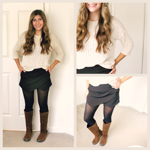 Black skort tan sweater sorel boots